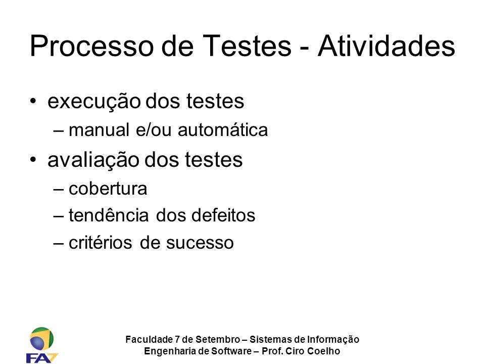 Faculdade 7 de Setembro – Sistemas de Informação Engenharia de Software – Prof. Ciro Coelho Processo de Testes - Atividades execução dos testes –manua