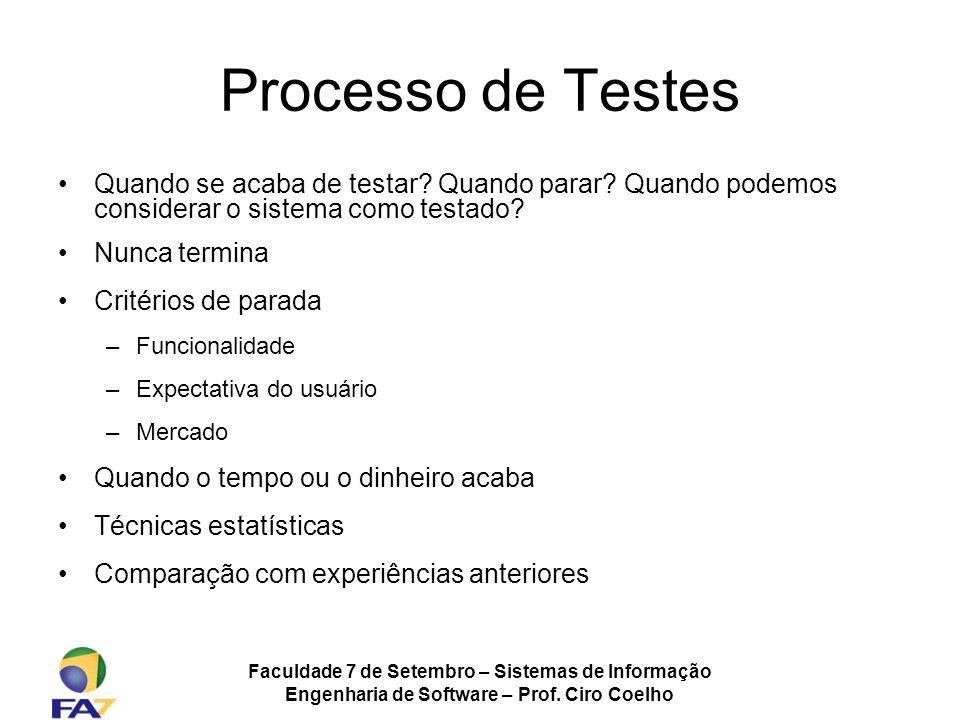 Faculdade 7 de Setembro – Sistemas de Informação Engenharia de Software – Prof. Ciro Coelho Processo de Testes Quando se acaba de testar? Quando parar