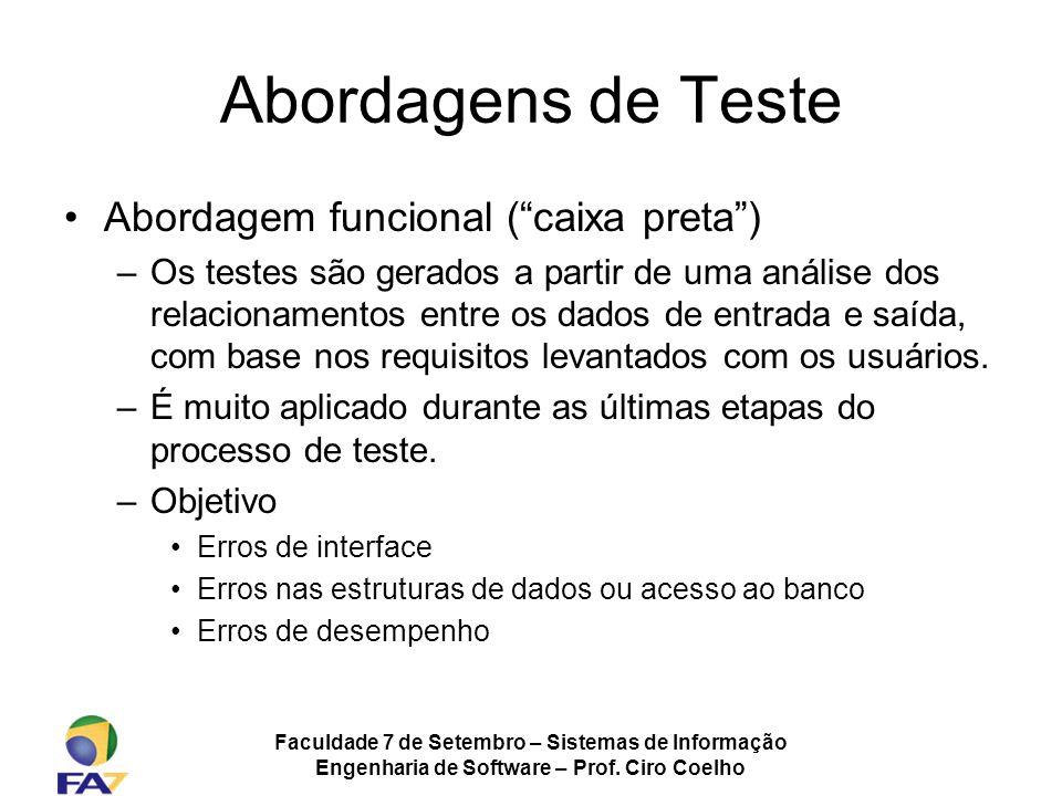 Faculdade 7 de Setembro – Sistemas de Informação Engenharia de Software – Prof. Ciro Coelho Abordagens de Teste Abordagem funcional (caixa preta) –Os