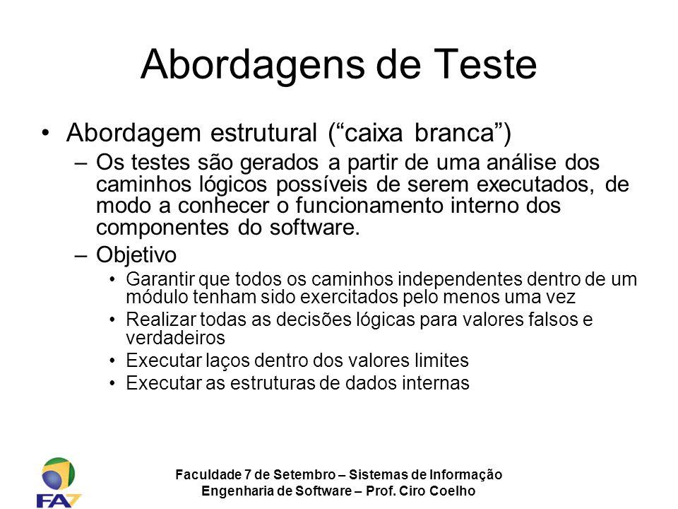 Faculdade 7 de Setembro – Sistemas de Informação Engenharia de Software – Prof. Ciro Coelho Abordagens de Teste Abordagem estrutural (caixa branca) –O