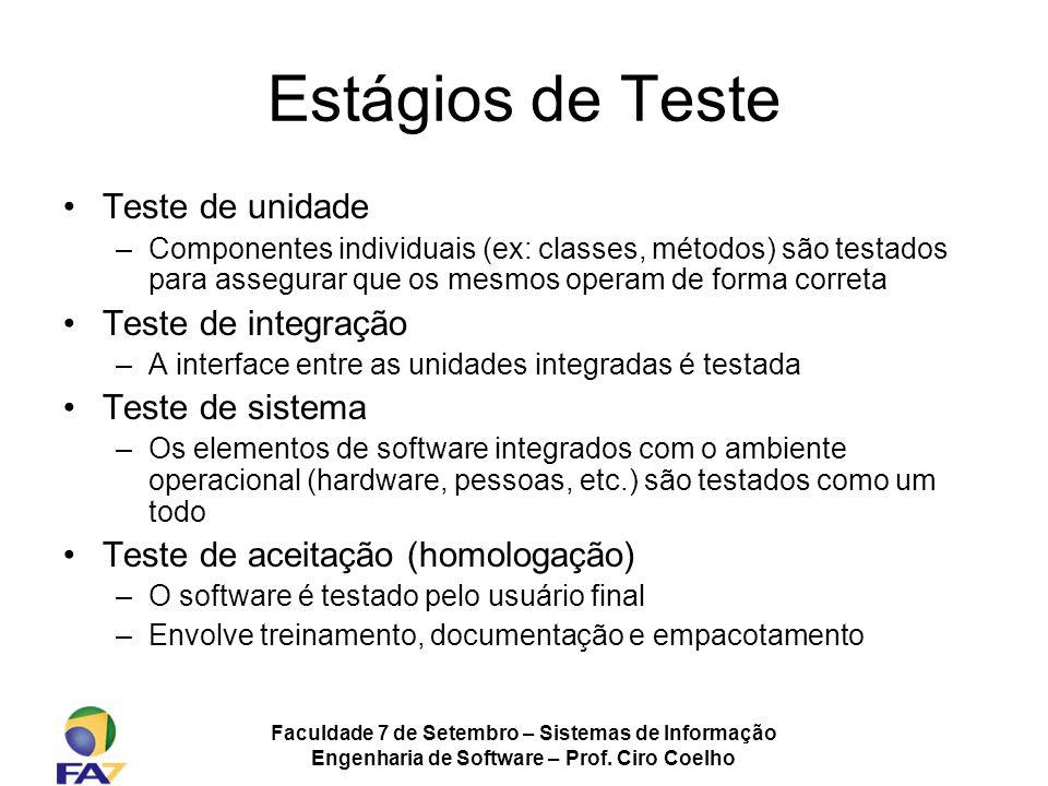 Faculdade 7 de Setembro – Sistemas de Informação Engenharia de Software – Prof. Ciro Coelho Estágios de Teste Teste de unidade –Componentes individuai