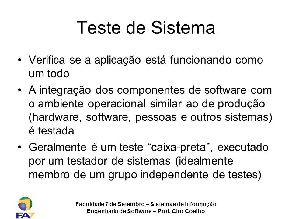 Faculdade 7 de Setembro – Sistemas de Informação Engenharia de Software – Prof. Ciro Coelho Teste de Sistema Verifica se a aplicação está funcionando