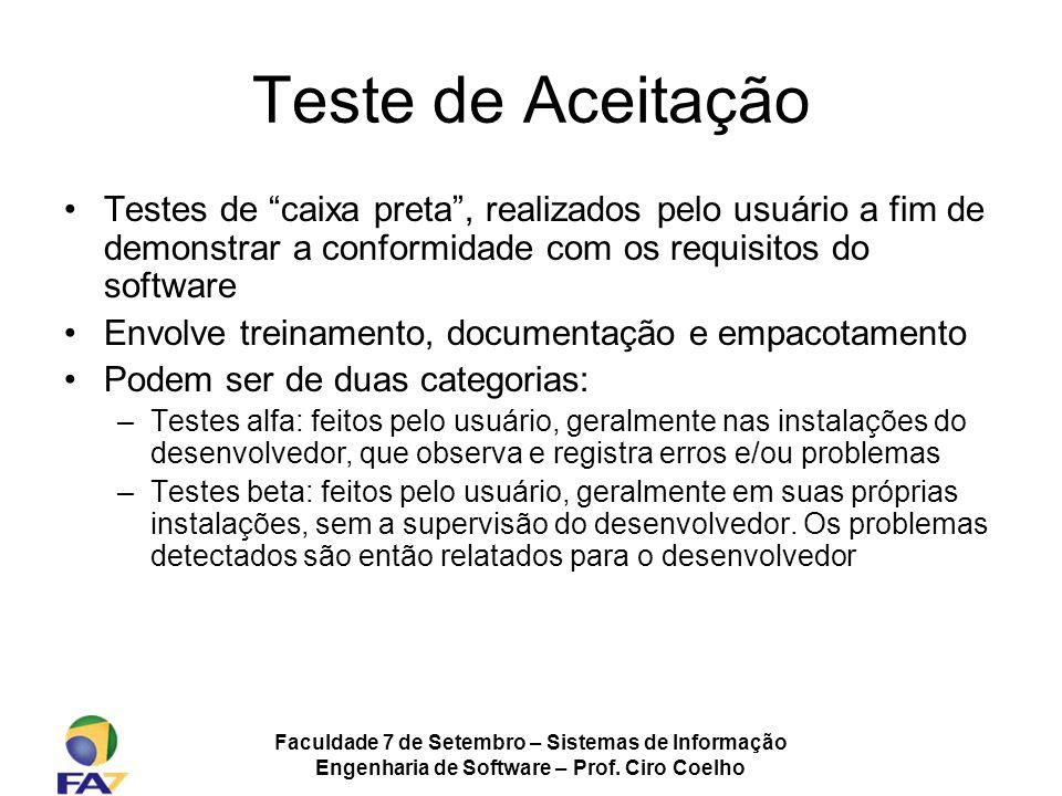 Faculdade 7 de Setembro – Sistemas de Informação Engenharia de Software – Prof. Ciro Coelho Teste de Aceitação Testes de caixa preta, realizados pelo