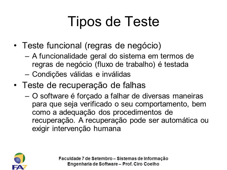 Faculdade 7 de Setembro – Sistemas de Informação Engenharia de Software – Prof. Ciro Coelho Tipos de Teste Teste funcional (regras de negócio) –A func