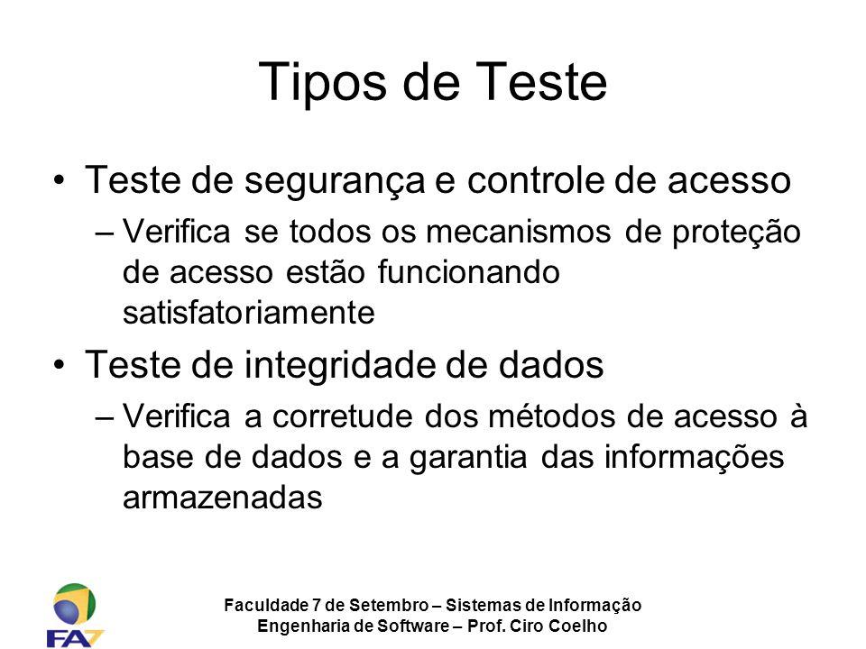 Faculdade 7 de Setembro – Sistemas de Informação Engenharia de Software – Prof. Ciro Coelho Tipos de Teste Teste de segurança e controle de acesso –Ve