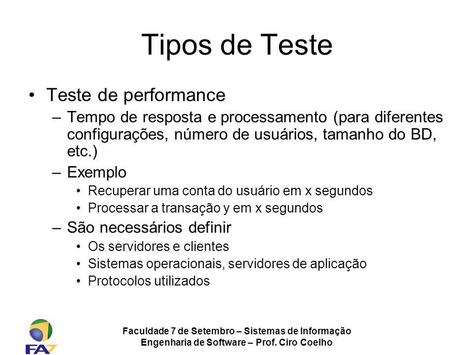 Faculdade 7 de Setembro – Sistemas de Informação Engenharia de Software – Prof. Ciro Coelho Tipos de Teste Teste de performance –Tempo de resposta e p