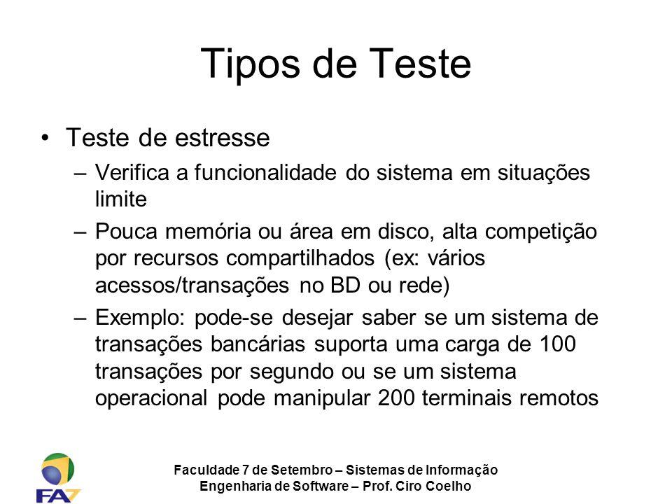 Faculdade 7 de Setembro – Sistemas de Informação Engenharia de Software – Prof. Ciro Coelho Tipos de Teste Teste de estresse –Verifica a funcionalidad