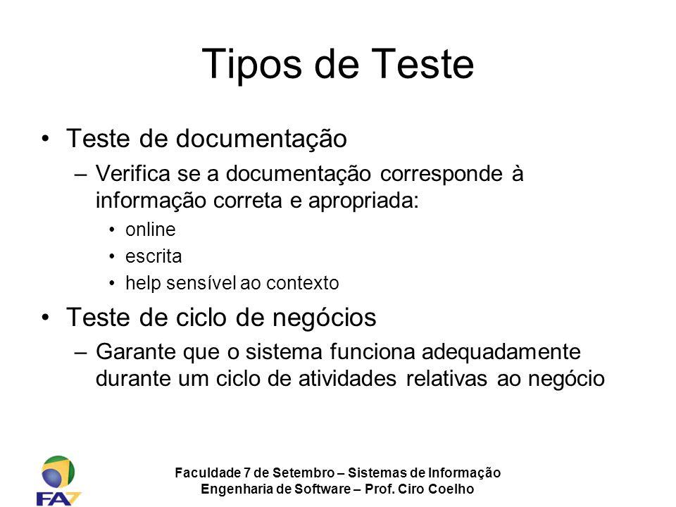 Faculdade 7 de Setembro – Sistemas de Informação Engenharia de Software – Prof. Ciro Coelho Tipos de Teste Teste de documentação –Verifica se a docume