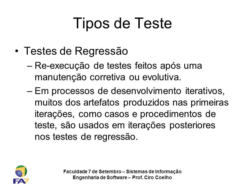 Faculdade 7 de Setembro – Sistemas de Informação Engenharia de Software – Prof. Ciro Coelho Tipos de Teste Testes de Regressão –Re-execução de testes