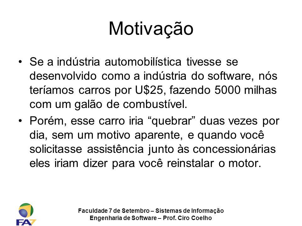Faculdade 7 de Setembro – Sistemas de Informação Engenharia de Software – Prof. Ciro Coelho Motivação Se a indústria automobilística tivesse se desenv