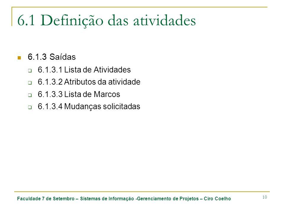 Faculdade 7 de Setembro – Sistemas de Informação -Gerenciamento de Projetos – Ciro Coelho 10 6.1 Definição das atividades 6.1.3 Saídas 6.1.3.1 Lista d