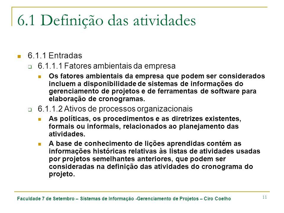 Faculdade 7 de Setembro – Sistemas de Informação -Gerenciamento de Projetos – Ciro Coelho 11 6.1 Definição das atividades 6.1.1 Entradas 6.1.1.1 Fator