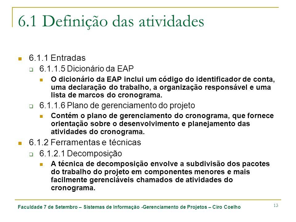 Faculdade 7 de Setembro – Sistemas de Informação -Gerenciamento de Projetos – Ciro Coelho 13 6.1 Definição das atividades 6.1.1 Entradas 6.1.1.5 Dicio