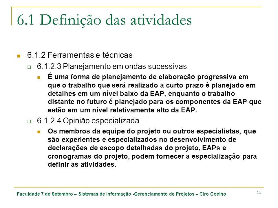 Faculdade 7 de Setembro – Sistemas de Informação -Gerenciamento de Projetos – Ciro Coelho 15 6.1 Definição das atividades 6.1.2 Ferramentas e técnicas