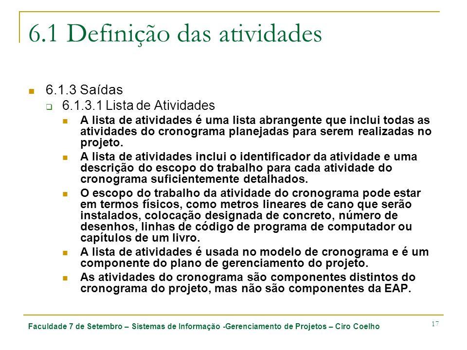 Faculdade 7 de Setembro – Sistemas de Informação -Gerenciamento de Projetos – Ciro Coelho 17 6.1 Definição das atividades 6.1.3 Saídas 6.1.3.1 Lista d