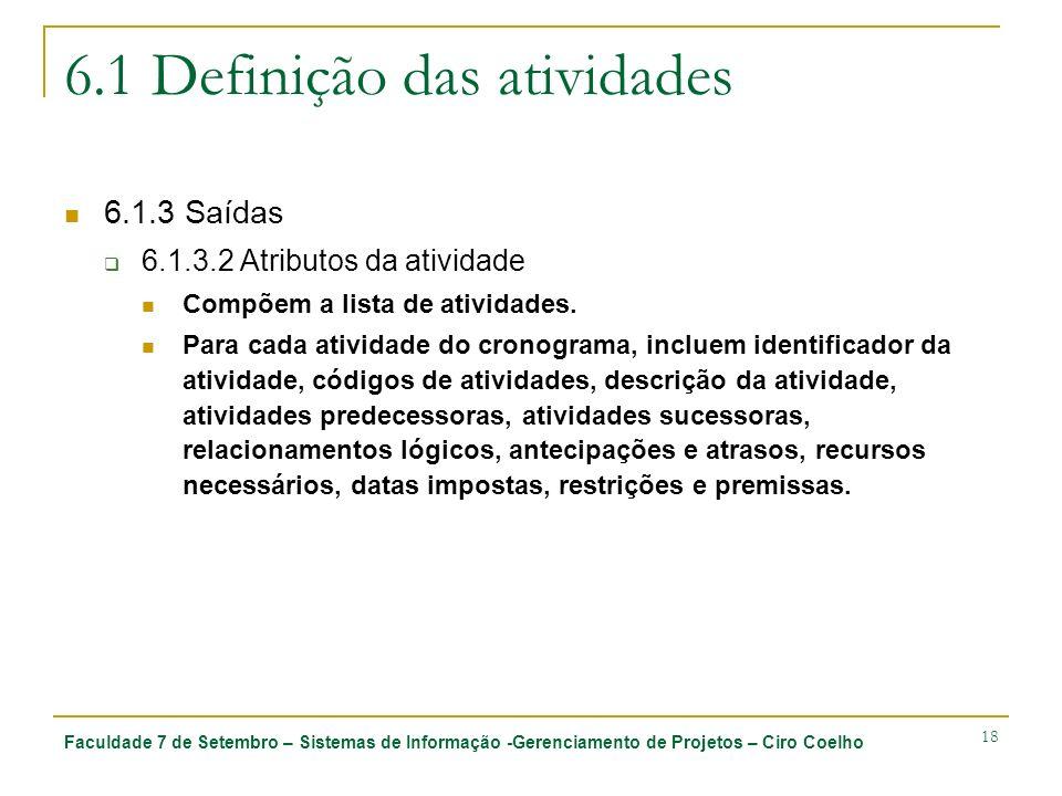 Faculdade 7 de Setembro – Sistemas de Informação -Gerenciamento de Projetos – Ciro Coelho 18 6.1 Definição das atividades 6.1.3 Saídas 6.1.3.2 Atribut