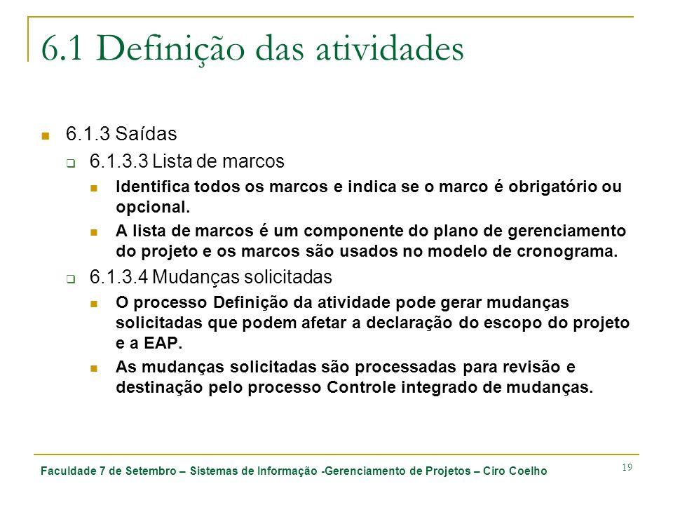 Faculdade 7 de Setembro – Sistemas de Informação -Gerenciamento de Projetos – Ciro Coelho 19 6.1 Definição das atividades 6.1.3 Saídas 6.1.3.3 Lista d