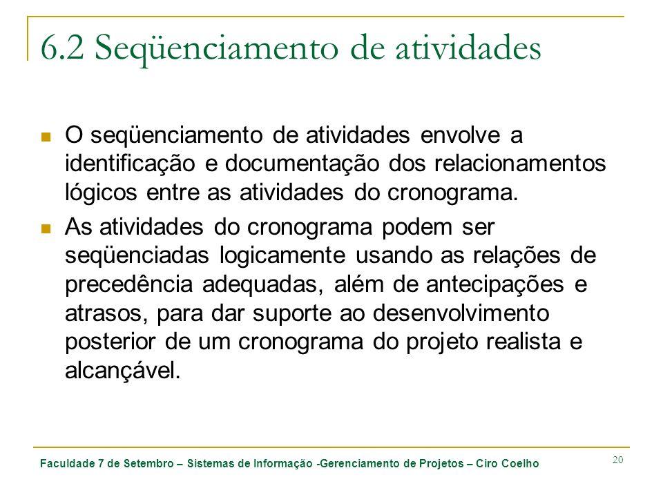 Faculdade 7 de Setembro – Sistemas de Informação -Gerenciamento de Projetos – Ciro Coelho 20 6.2 Seqüenciamento de atividades O seqüenciamento de ativ