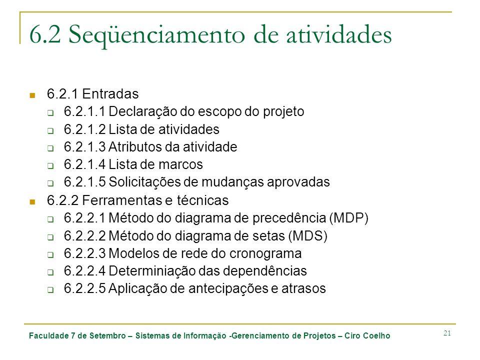 Faculdade 7 de Setembro – Sistemas de Informação -Gerenciamento de Projetos – Ciro Coelho 21 6.2 Seqüenciamento de atividades 6.2.1 Entradas 6.2.1.1 D