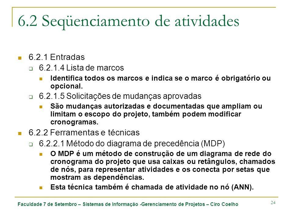 Faculdade 7 de Setembro – Sistemas de Informação -Gerenciamento de Projetos – Ciro Coelho 24 6.2 Seqüenciamento de atividades 6.2.1 Entradas 6.2.1.4 L