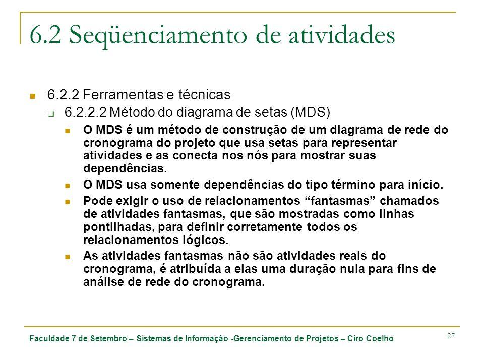 Faculdade 7 de Setembro – Sistemas de Informação -Gerenciamento de Projetos – Ciro Coelho 27 6.2 Seqüenciamento de atividades 6.2.2 Ferramentas e técn