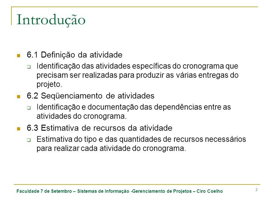 Faculdade 7 de Setembro – Sistemas de Informação -Gerenciamento de Projetos – Ciro Coelho 3 Introdução 6.1 Definição da atividade Identificação das at