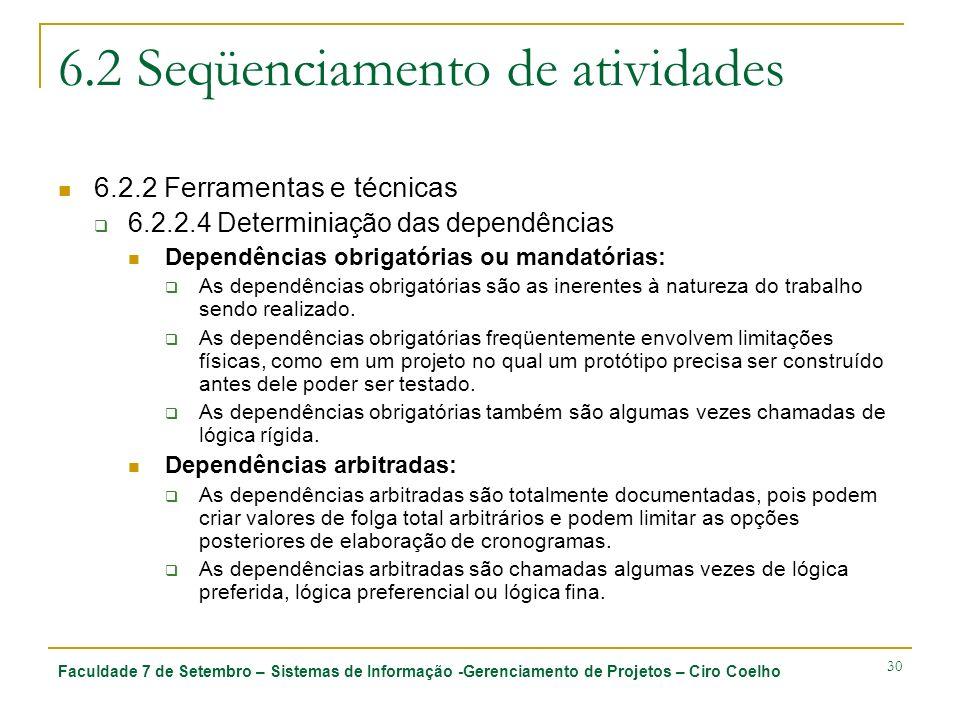 Faculdade 7 de Setembro – Sistemas de Informação -Gerenciamento de Projetos – Ciro Coelho 30 6.2 Seqüenciamento de atividades 6.2.2 Ferramentas e técn