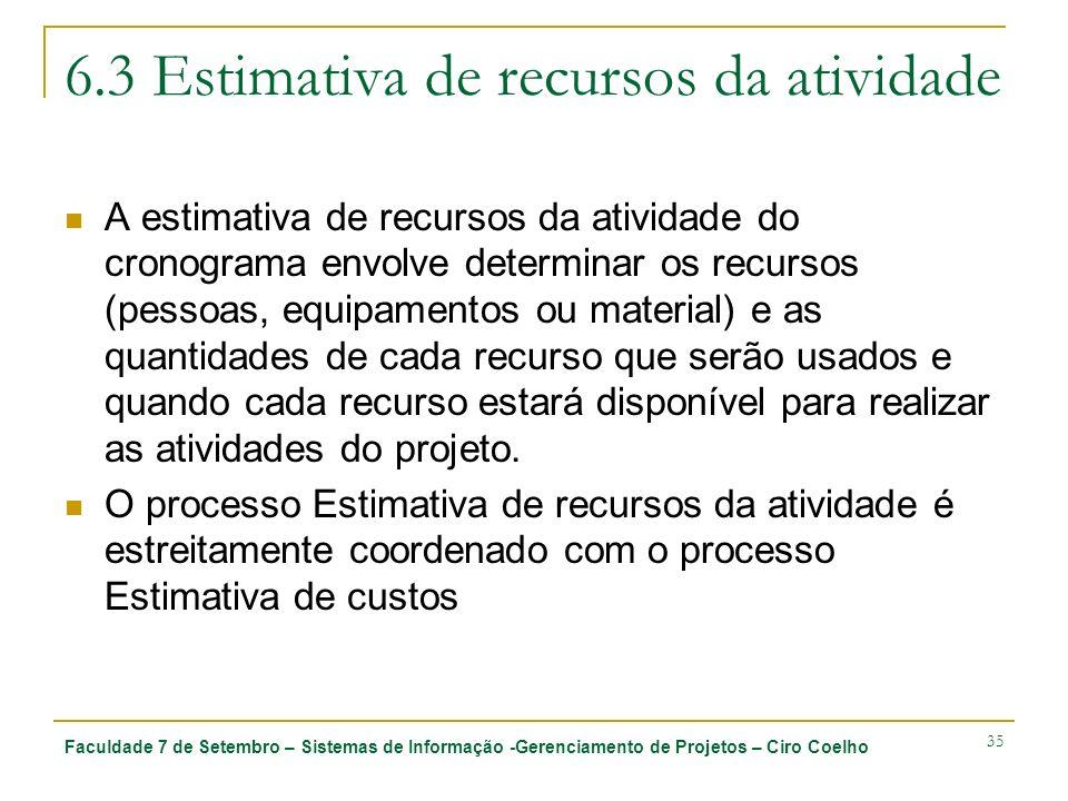 Faculdade 7 de Setembro – Sistemas de Informação -Gerenciamento de Projetos – Ciro Coelho 35 6.3 Estimativa de recursos da atividade A estimativa de r