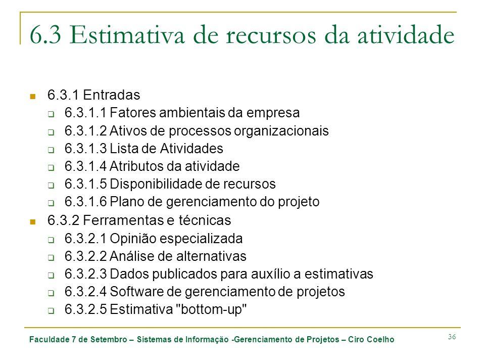 Faculdade 7 de Setembro – Sistemas de Informação -Gerenciamento de Projetos – Ciro Coelho 36 6.3 Estimativa de recursos da atividade 6.3.1 Entradas 6.