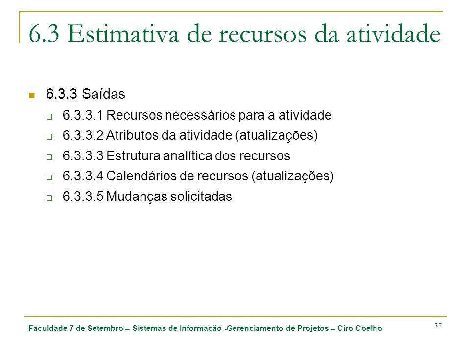 Faculdade 7 de Setembro – Sistemas de Informação -Gerenciamento de Projetos – Ciro Coelho 37 6.3 Estimativa de recursos da atividade 6.3.3 Saídas 6.3.