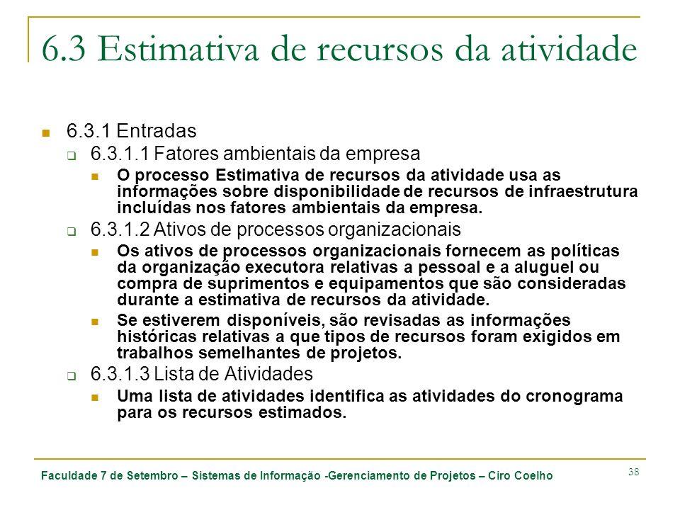 Faculdade 7 de Setembro – Sistemas de Informação -Gerenciamento de Projetos – Ciro Coelho 38 6.3 Estimativa de recursos da atividade 6.3.1 Entradas 6.