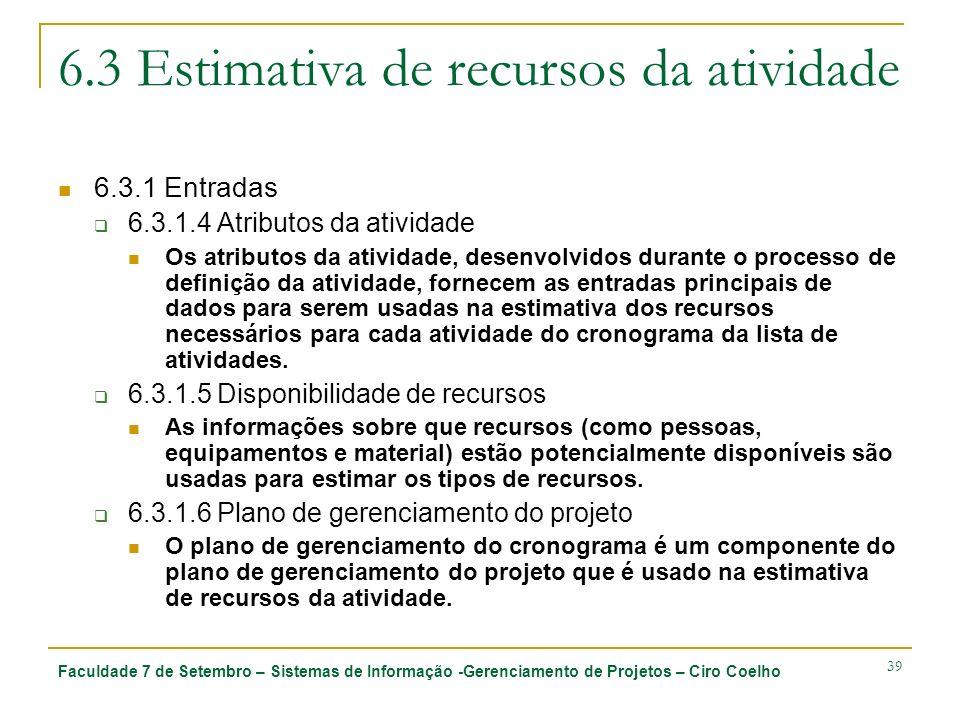 Faculdade 7 de Setembro – Sistemas de Informação -Gerenciamento de Projetos – Ciro Coelho 39 6.3 Estimativa de recursos da atividade 6.3.1 Entradas 6.