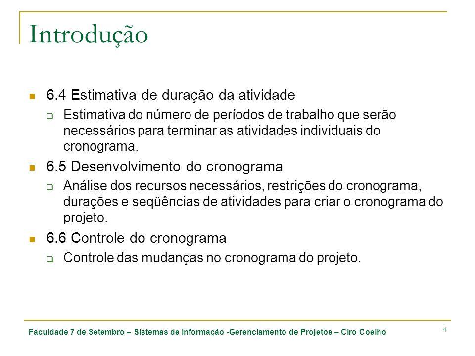 Faculdade 7 de Setembro – Sistemas de Informação -Gerenciamento de Projetos – Ciro Coelho 4 Introdução 6.4 Estimativa de duração da atividade Estimati