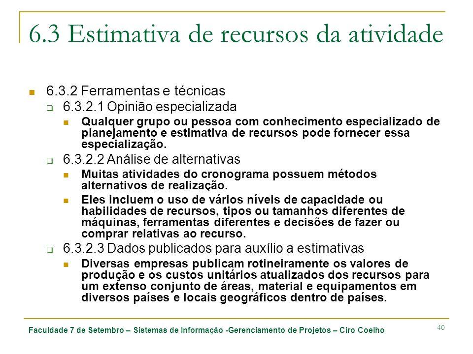 Faculdade 7 de Setembro – Sistemas de Informação -Gerenciamento de Projetos – Ciro Coelho 40 6.3 Estimativa de recursos da atividade 6.3.2 Ferramentas