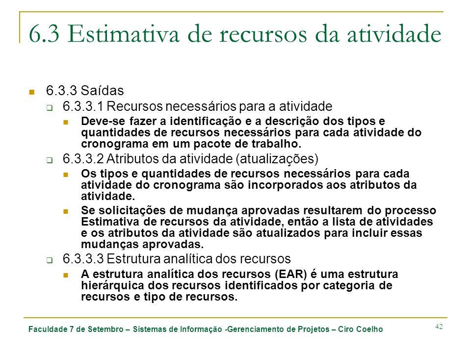 Faculdade 7 de Setembro – Sistemas de Informação -Gerenciamento de Projetos – Ciro Coelho 42 6.3 Estimativa de recursos da atividade 6.3.3 Saídas 6.3.