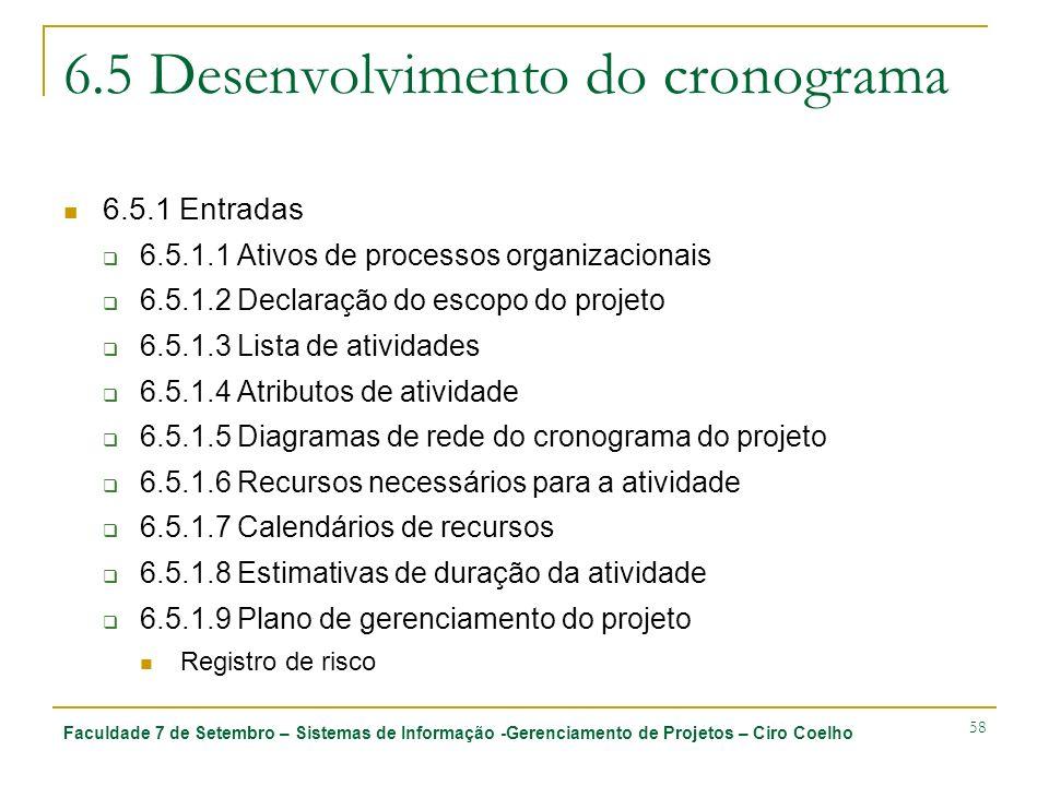 Faculdade 7 de Setembro – Sistemas de Informação -Gerenciamento de Projetos – Ciro Coelho 58 6.5 Desenvolvimento do cronograma 6.5.1 Entradas 6.5.1.1