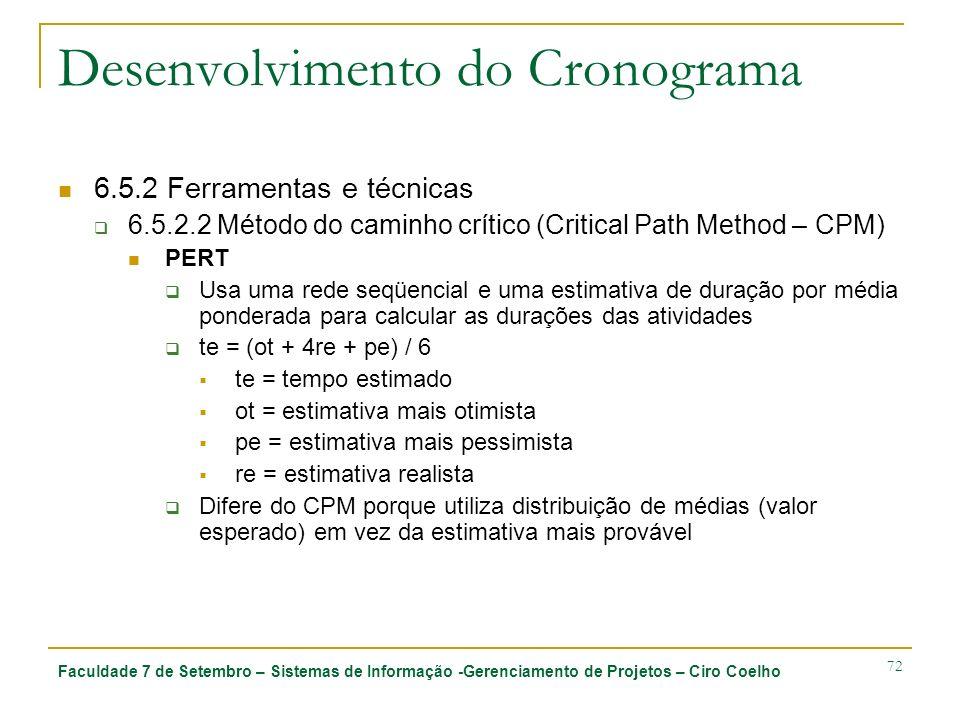 Faculdade 7 de Setembro – Sistemas de Informação -Gerenciamento de Projetos – Ciro Coelho 72 Desenvolvimento do Cronograma 6.5.2 Ferramentas e técnica