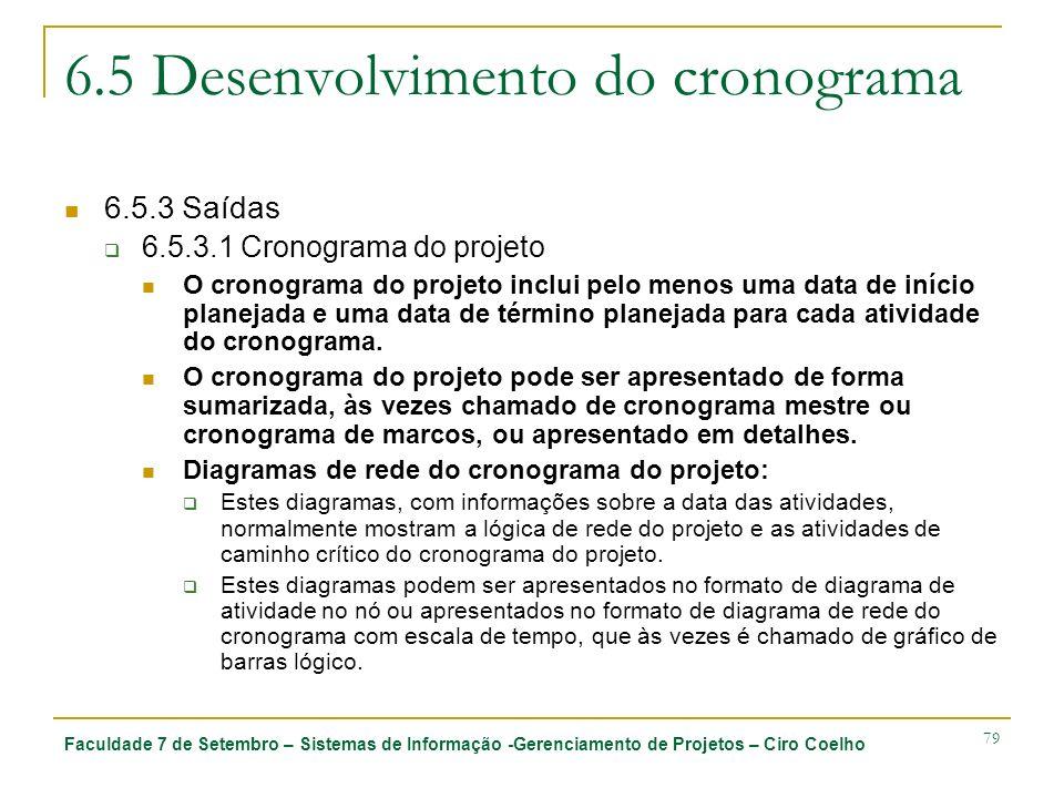 Faculdade 7 de Setembro – Sistemas de Informação -Gerenciamento de Projetos – Ciro Coelho 79 6.5 Desenvolvimento do cronograma 6.5.3 Saídas 6.5.3.1 Cr