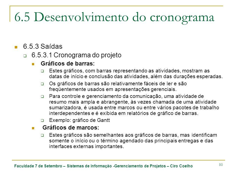 Faculdade 7 de Setembro – Sistemas de Informação -Gerenciamento de Projetos – Ciro Coelho 80 6.5 Desenvolvimento do cronograma 6.5.3 Saídas 6.5.3.1 Cr