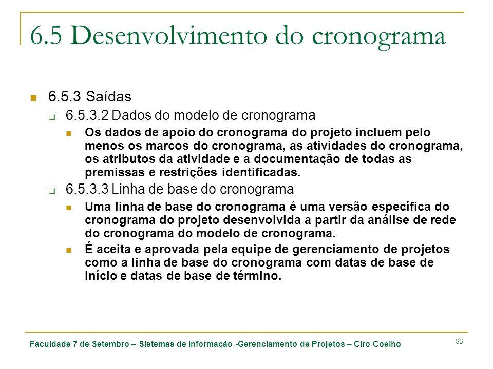 Faculdade 7 de Setembro – Sistemas de Informação -Gerenciamento de Projetos – Ciro Coelho 83 6.5 Desenvolvimento do cronograma 6.5.3 Saídas 6.5.3.2 Da
