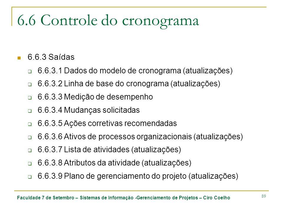Faculdade 7 de Setembro – Sistemas de Informação -Gerenciamento de Projetos – Ciro Coelho 89 6.6 Controle do cronograma 6.6.3 Saídas 6.6.3.1 Dados do
