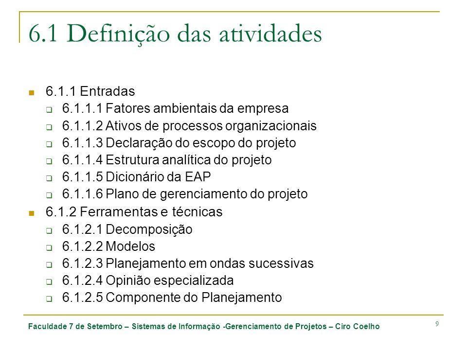 Faculdade 7 de Setembro – Sistemas de Informação -Gerenciamento de Projetos – Ciro Coelho 9 6.1 Definição das atividades 6.1.1 Entradas 6.1.1.1 Fatore