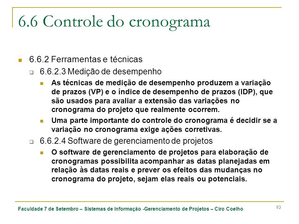 Faculdade 7 de Setembro – Sistemas de Informação -Gerenciamento de Projetos – Ciro Coelho 93 6.6 Controle do cronograma 6.6.2 Ferramentas e técnicas 6