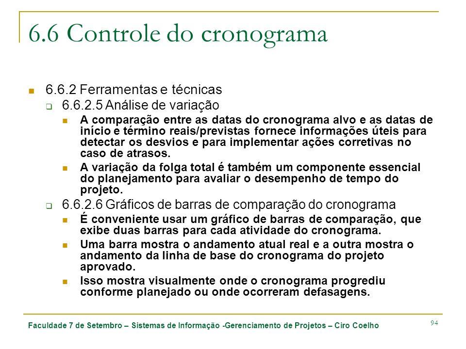Faculdade 7 de Setembro – Sistemas de Informação -Gerenciamento de Projetos – Ciro Coelho 94 6.6 Controle do cronograma 6.6.2 Ferramentas e técnicas 6