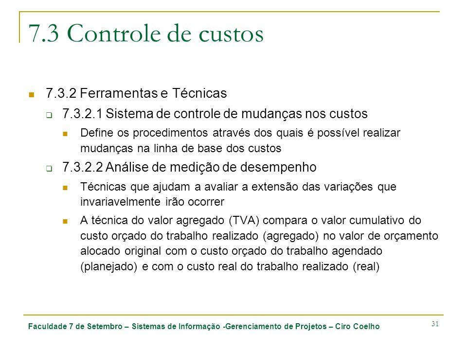 Faculdade 7 de Setembro – Sistemas de Informação -Gerenciamento de Projetos – Ciro Coelho 31 7.3 Controle de custos 7.3.2 Ferramentas e Técnicas 7.3.2.1 Sistema de controle de mudanças nos custos Define os procedimentos através dos quais é possível realizar mudanças na linha de base dos custos 7.3.2.2 Análise de medição de desempenho Técnicas que ajudam a avaliar a extensão das variações que invariavelmente irão ocorrer A técnica do valor agregado (TVA) compara o valor cumulativo do custo orçado do trabalho realizado (agregado) no valor de orçamento alocado original com o custo orçado do trabalho agendado (planejado) e com o custo real do trabalho realizado (real)