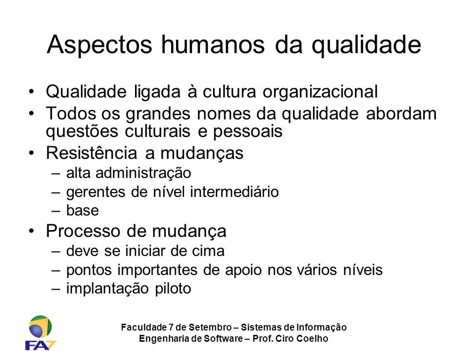 Faculdade 7 de Setembro – Sistemas de Informação Engenharia de Software – Prof. Ciro Coelho Aspectos humanos da qualidade Qualidade ligada à cultura o