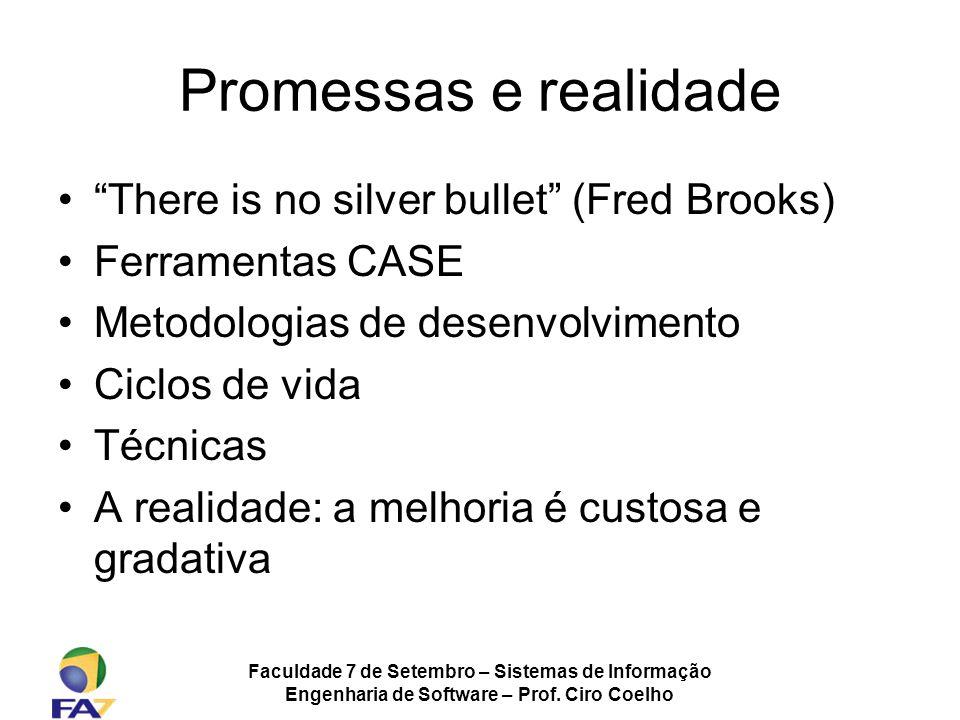 Faculdade 7 de Setembro – Sistemas de Informação Engenharia de Software – Prof. Ciro Coelho Promessas e realidade There is no silver bullet (Fred Broo