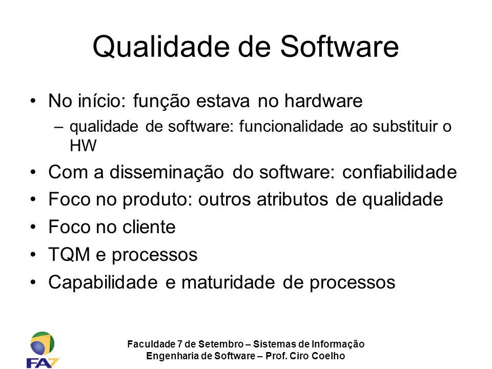Faculdade 7 de Setembro – Sistemas de Informação Engenharia de Software – Prof. Ciro Coelho Qualidade de Software No início: função estava no hardware