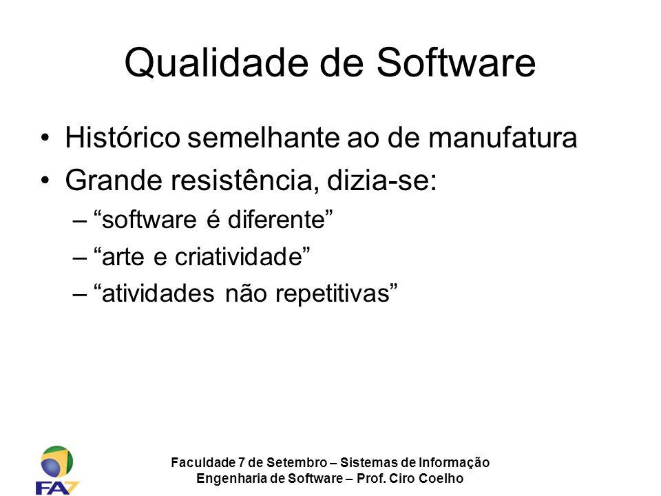 Faculdade 7 de Setembro – Sistemas de Informação Engenharia de Software – Prof. Ciro Coelho Qualidade de Software Histórico semelhante ao de manufatur