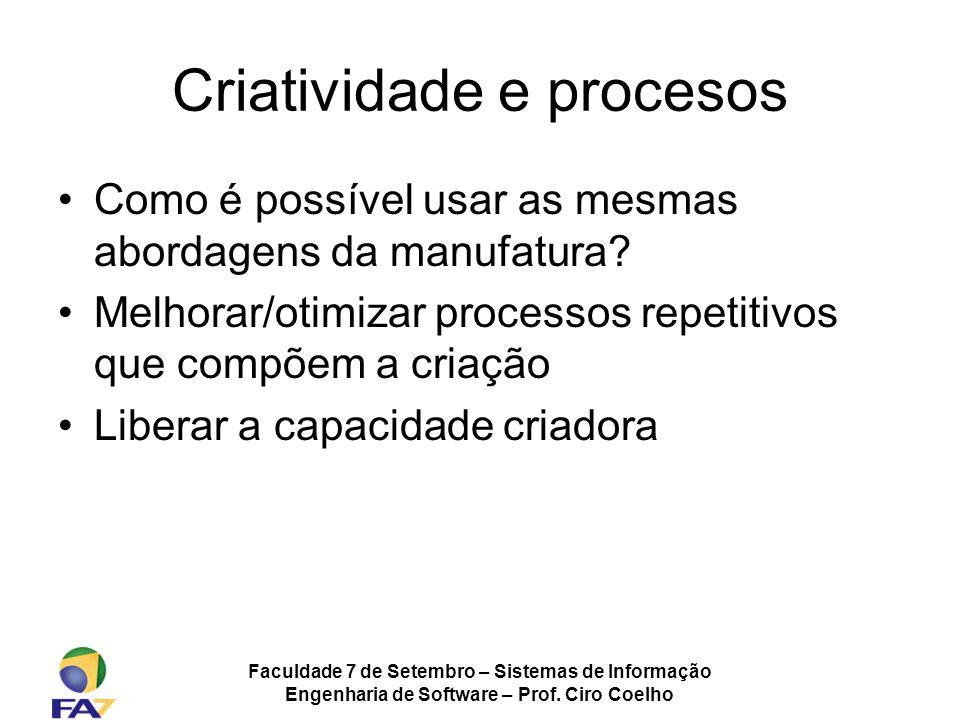 Faculdade 7 de Setembro – Sistemas de Informação Engenharia de Software – Prof. Ciro Coelho Criatividade e procesos Como é possível usar as mesmas abo